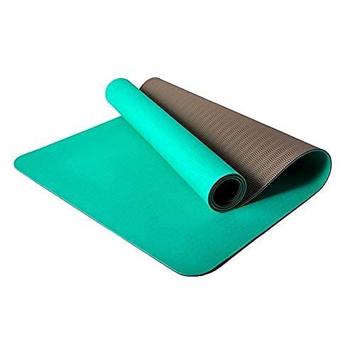 Sysrqcer Estera de Yoga TPE + Corcho Natural Antideslizante para Pilates, Ejercicio Entrenamiento de Ejercicio con Bolsa de Transporte y Correa (Color : Green)