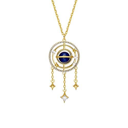 jinyi2016SHOP Collar de Inspiración Collar Colgante Cielo Estrellado del colector del sueño Elemento de joyería 925 del Regalo de la Plata esterlina Mujer Exquisita Decoración para Mujeres y Niñas