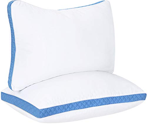 Utopia Bedding Gusseted Quilted Pillow (2-Pack) Premium Quality Bed Pillows - Side Back...