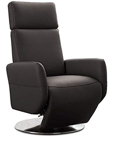 Cavadore TV-Sessel Cobra mit 2 E-Motoren / Elektrischer Fernsehsessel mit Fernbedienung / Relaxfunktion, Liegefunktion / Ergonomie M / Belastbar bis 130 kg / 71 x 110 x 82 / Echtleder Mokka