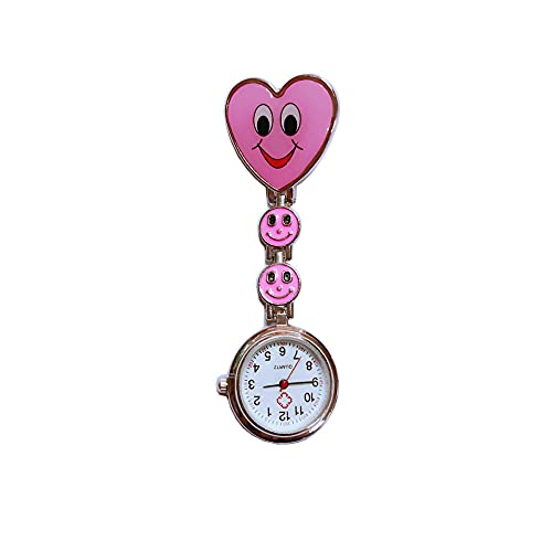LLRR Reloj de Bolsillo para Enfermera,Mesa de Enfermera General con Cara de Risa Femenina, Hangar de Moda Creativa-Rosa,Reloj Tipo Enfermera Cuarzo