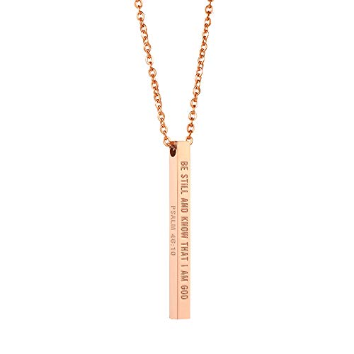 Joycuff Religious Gifts for Women Bar Necklace for Girls Be Still and Know That I am God