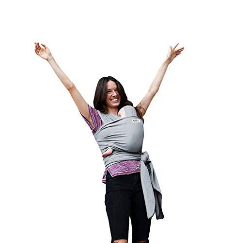 Fascia Porta Bambino Kdikuore™Fascia Porta Bebé Marsupio Tracolla Neonato Cotone Ecologico Traspirante Elastica Con Anelli Baby Wrap Sling (Grigio Chiaro)