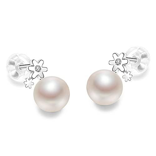 Pendientes Mujer Pendientes de perlas S925 con incrustaciones de agua de agua dulce con incrustaciones de agua dulce Forma de bollo al vapor blanco 6-7mm Pendientes para mujeres Stud Pendientes