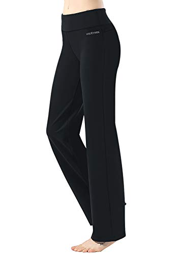 HISKYWIN 17'/23'/27'/29'/31'/33'/35' Inseam Capri/Petite/Regular/Tall Length Women's Straight Leg Yoga Pants Zip Pocket HF607-Black-L