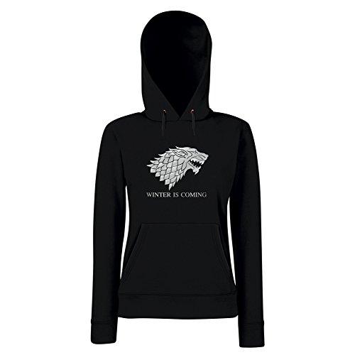 Damen Hoodie Winter is Coming Game of Thrones Kapuzenpullover Wolf, M, schwarz-Silber