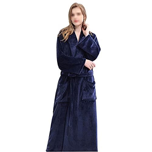 Mimitool Hombres Mujeres Plus Talla de Albornoz, Invierno Super Largo Cómodo Corral Thane, con cuello en V 2 bolsillos, cinturón, pareja, camión, para hogar, hombres, XL (Color : Women, Size : XL)