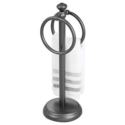 mDesign Toallero pequeño para el lavabo – Portatoallas independiente con 2 anillas para pequeñas toallas de invitados – Soporte para toallas compacto de metal – gris grafito