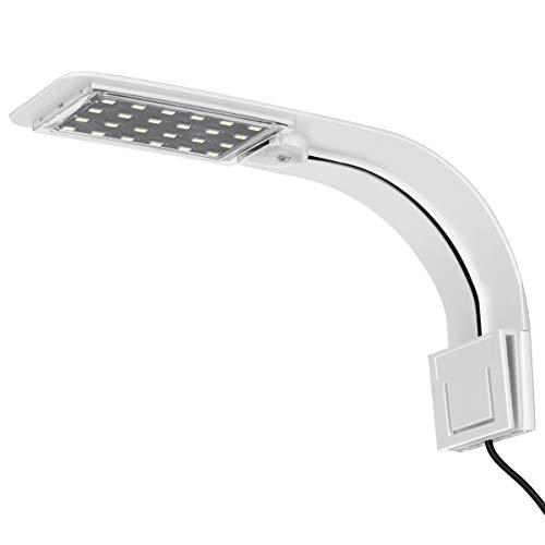 UEETEK Luz del Acuario del LED, luz de la lámpara con Clip súper Delgada con Enchufe de la UE para el Tanque de Acuario (luz Blanca)