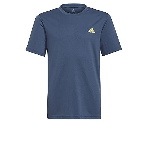 adidas GN1466 B SL T T-Shirt Bambino Crew Navy/Acid Yellow 910Y