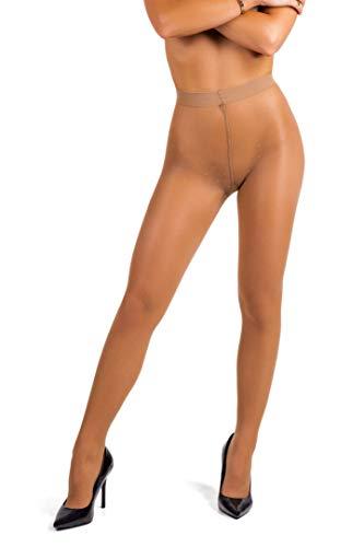 sofsy Collants Motif à Pois Pour Femme - Collant Semi-Transparent | 20 Deniers [Fabriqué en Italie] Marron Tan 4 - Large