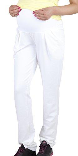 Mija - Komfortabel Umstandshose mit Bauchband Schwangerschaftssporthose 1038 (M, Weiß)