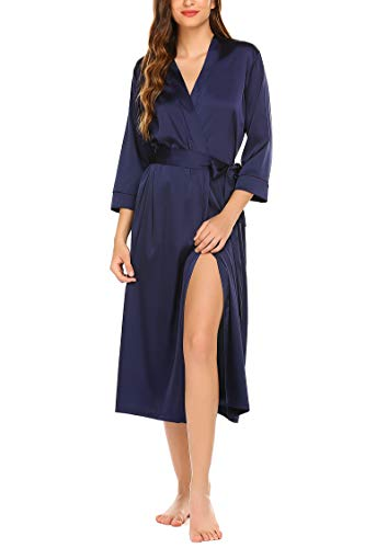 Hotouch Women's Satin Kimono Robe Long Bridesmaid Wedding Bath Robe with Pockets Navy Blue