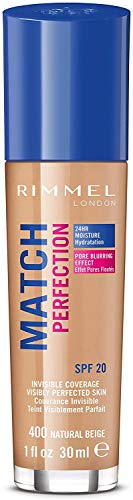 Rimmel London Match Perfection Foundation Base de Maquillaje Tono 400 Natural Beige - 123 gr