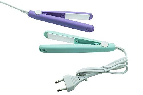 Miniplancha para el cabello, para alisar el pelo, de cerámica, portátil, de viaje, con bolsa, con LED, F-002