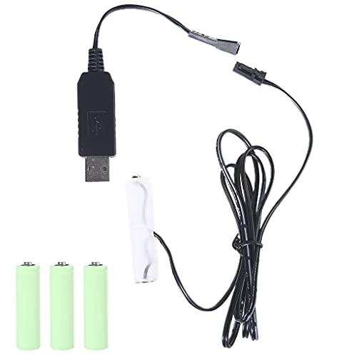 BMBN USB-zu-AA-Batterie-Eliminator, USB-zu-AA-Akku-Eliminator-Kabel, ersetzt 1–4 x 1,5 V AA-Batterie für Bartschneider, Zahnbürste, Make-up, Spiegel, Gameboy, schwarz