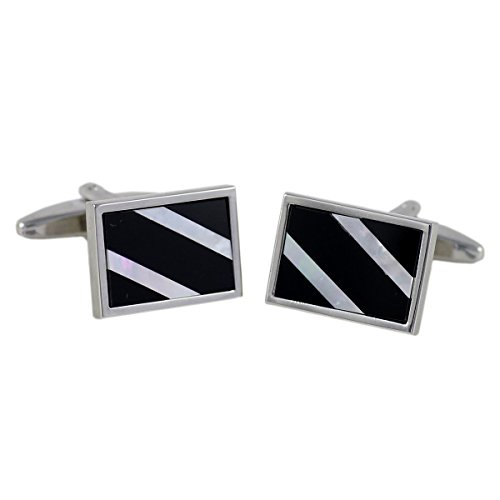 Lindenmann Classic G.CHABROLLE Cufflinks/Cuff Buttons, Silvery, Nacre, Onyx, with Gift Box, 6079