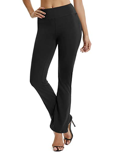 FITTOO Damen Lange Stretch Lagenlook Schlaghose Hose Schwarz L