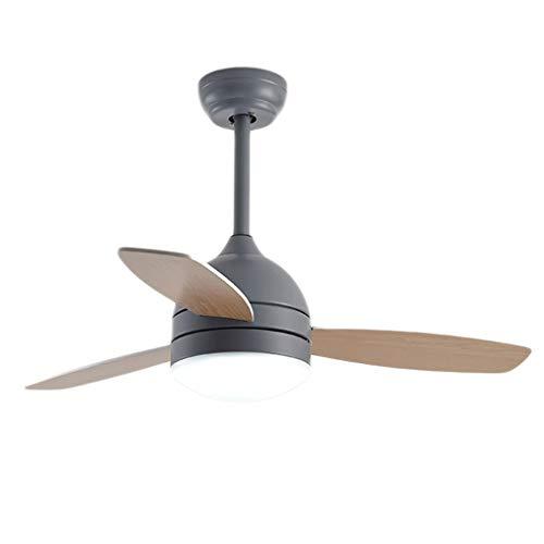 TONG Luz de Ventilador Ventilador de Techo Invisible con luz lámpara de salón de Cristal Simple luz de Ventilador de Techo Personalidad (Color : Gray)