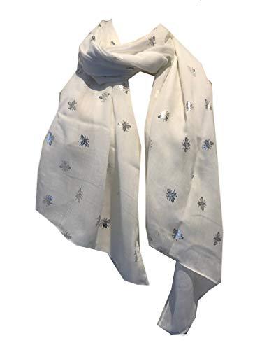 Pamper Yourself Now Langer Schal mit Hummeln, Weiß / silberfarben Tolles Geschenk für Bienen-Liebhaber