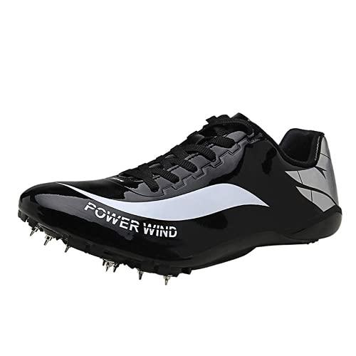 XTZLTY Pista Y Zapatos De Campo, Zapatillas De Entrenamiento Corriendo Lightweight Jumping Athletics Street Spikes Zapatos para Jóvenes, Mujeres Y Hombres,Negro,35