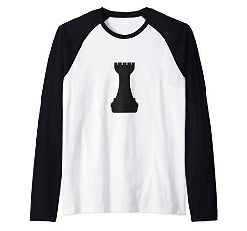 Disfraz de Halloween de pieza de ajedrez de caballero negro Camiseta Manga Raglan