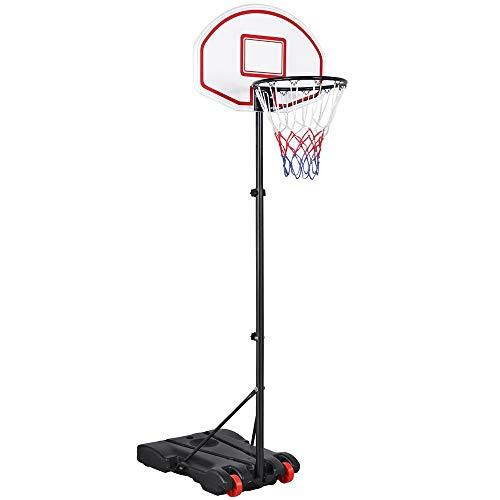 Yaheetech Canasta de Baloncesto con Soporte Tablero de Baloncesto con Ruedas Altura Ajustable de 159 cm a 214 cm Portátil Rojo