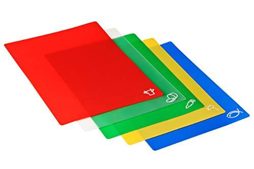 Premier Housewares 1207905 Set di 5 Taglieri Flessibili, Rosso/Verde/Giallo/Blu/Trasparente