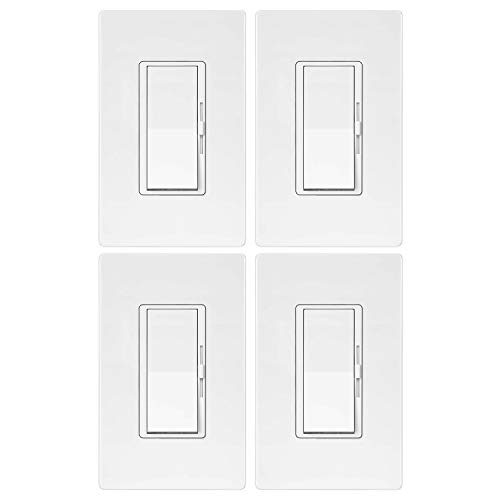 4 Pack - ELECTECK Single Pole/3 Way Dimmer Light Switch for Dimmable LED/Halogen/Incandescent Bulbs, Universal Lighting Control, Screwless Wallplate, UL Listed, White