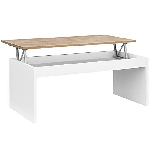 COMIFORT Tavolino Sollevabile Estensibile - Tavolino da Salotto Funzionale con Gran capacità di Contenimento, Moderno, Elegante, Molto Resistente, 2 Gambe, Colore Bianco e Rovere, Ecologico