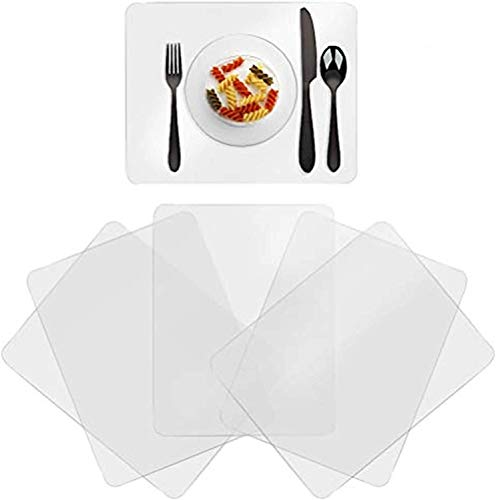 Greengoal Washable Clear Placemats Plastic Table Placemats Translucent Table Mats - for Dining Table Heat Resistant Non-Slip Kitchen Table Mats Dining Set of 6