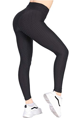 Women's High Waist Yoga Pants - Tummy Control Slimming Booty Leggings Workout Running Butt Lift Textured Tights Black
