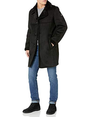 Wantdo Men's Winter Military Jacket Thicken Cotton Coat with Fur Hood Black XL