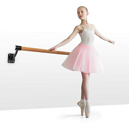 Klarfit Barre Mur - Barra de ballet, Montaje en pared, Largo 110 cm, Estructura de acero con revestimiento en polvo, Larguero de aspecto madera, Diámetro de 38 mm, 4 tornillos en cada lado, Negro