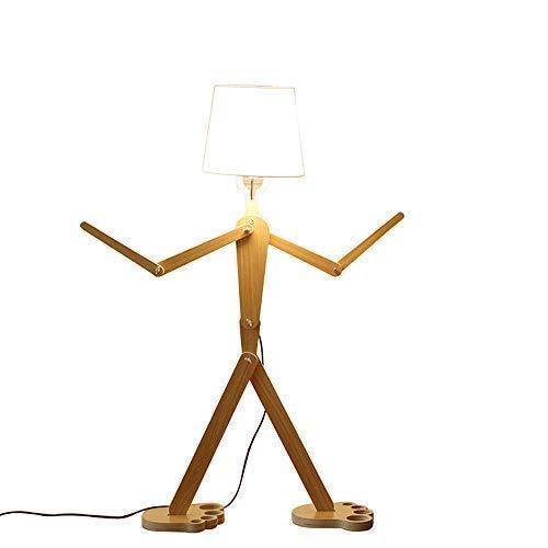 Moderne nordique style lampadaire créatif Original bois 110 cm Humanoïde décoration en bois moules formes réglables décoration Plancher lumineux pour salon et chambre à coucher (couleur bois)