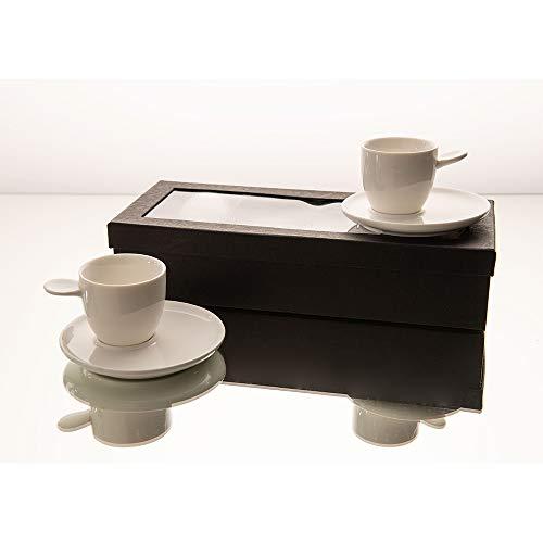 Amadeus - Coffret empreinte 4 tasses 100 ml porcelaine avec sous tasses
