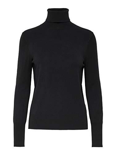Only Onlvenice L/s Rollneck Pullover Knt Noos Camiseta Cuello Alto, Negro (Black Black), Small para Mujer