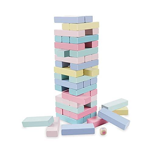 Bloques de Madera, Comius Sharp Torre de Madera Block Colores Juegos de Construcción, Juegos Educativos Torre de Bloques, Juguete de Madera Juego Familiar Clásico Juego de Mesa (51 Pcs New)