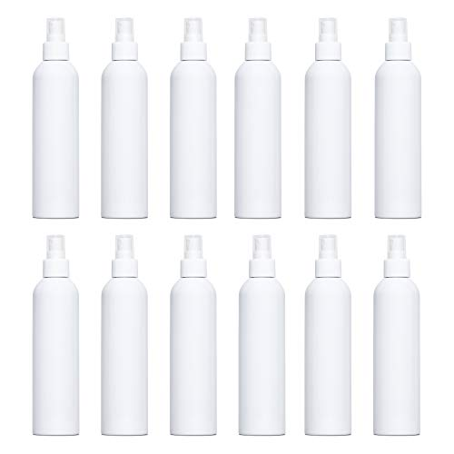 8oz White Plastic Refillable PET Cosmo Spray Bottles - BULK quantities available - (BPA-Free) with White Fine Mist Atomizer Spray Caps (12 Pack)