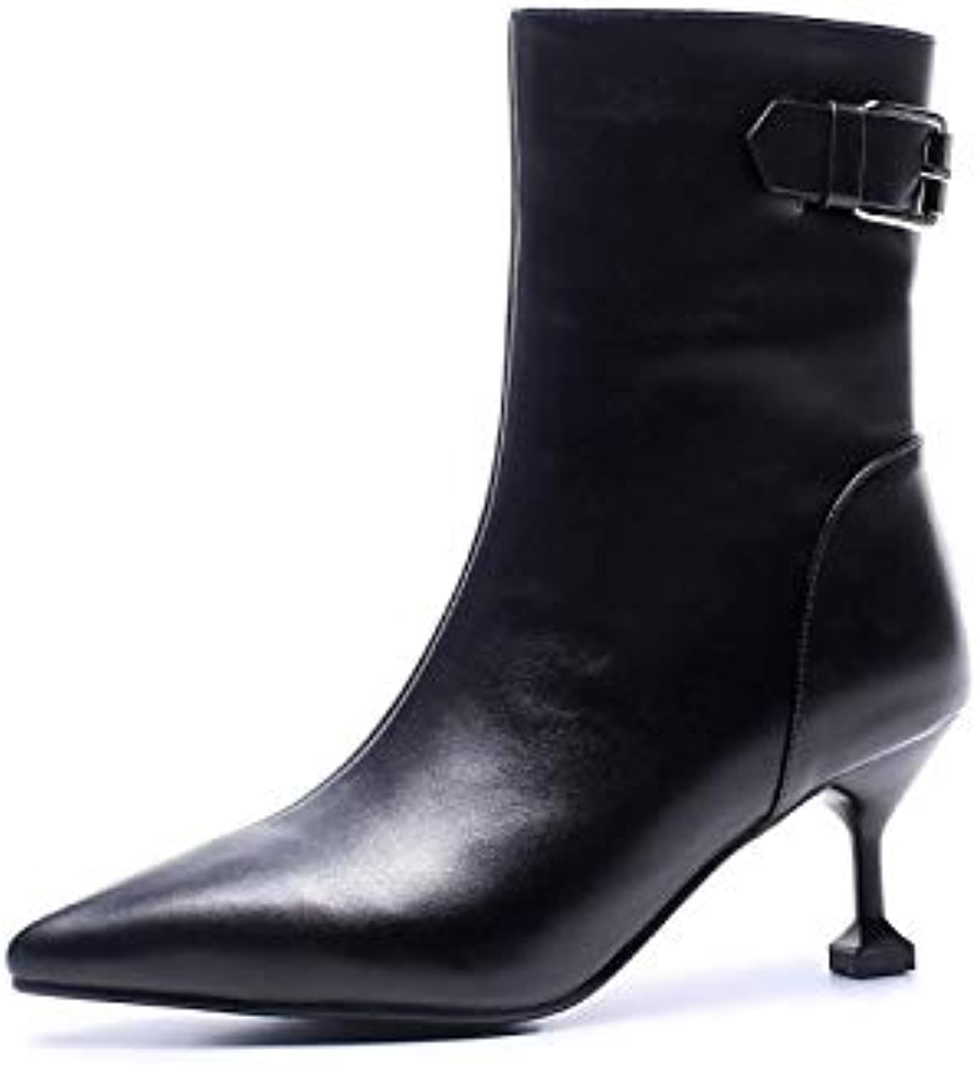 e453a8da68c6c Women's Women's Women's shoes Nappa Leather Fall & Winter Comfort Boots  Flared Heel White Black 57ae18