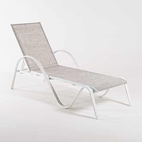 Tumbona jardín reclinable y apilable, Tamaño: 203x64x33 cm, Aluminio Blanco y textilene Color taupé Jaspeado