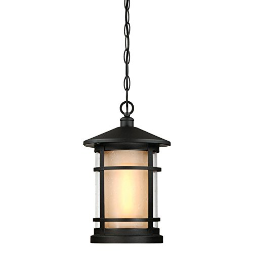 Westinghouse 6312600 Albright One-Light Outdoor Pendant, Textured Black Finish with Amber Frosted and Clear Seeded Glass