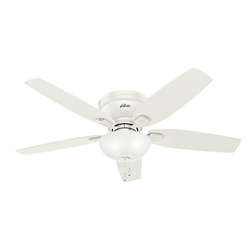 Hunter Fan Company 53378 Flush Mount, 5 Fresh White, Drifted Oak Blades Ceiling fan with 38 watts light, Fresh White