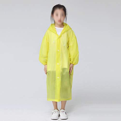 MMAXZ Moda EVA niños Amarillo Impermeable Espesado Impermeable Capa Lluvia niños Claro Tour Transparente Impermeable Traje de Lluvia