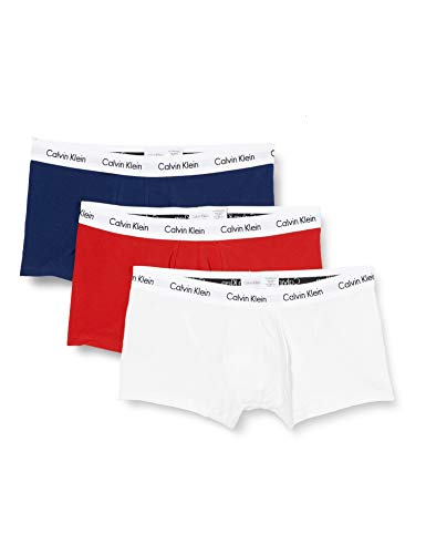 Calvin Klein 3p Low Rise Trunk Bóxer, Multicolor (White/Red/Navy), S (Pack de 3) para Hombre