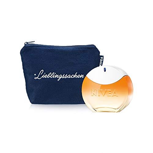 NIVEA SUN EdT Eau de Toilette (1 x 30 ml) con el original aroma de la crema solar NIVEA SUN, perfume para mujer en un icónico frasco de perfume, y bolso de tocador incluida