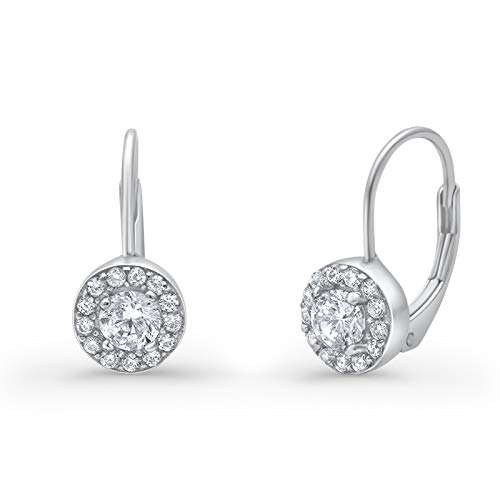 Halo Wedding Engagement Bridal Dangling Earrings Round Simulated Cubic Zirconia 925 Sterling Silver
