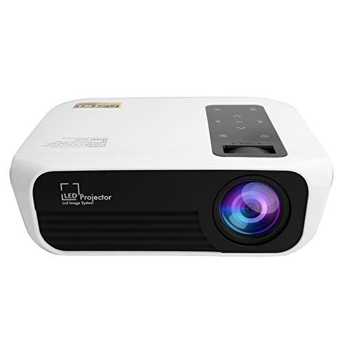Jopwkuin Proyector de Video portátil Mini proyector LED 1080P con LCD + Fuente de alimentación + LED de disipación de Calor Proyector de películas de Cine en casa Multimedia(Enchufe de la UE)