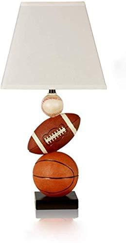 DJSMtd Lámpara de Mesa de los niños Personalizados, American Creativo Resina Baloncesto lámpara de Mesa de Tela Pantalla Interruptor de botón Dormitorio lámpara de cabecera