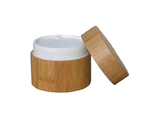Bocaux vides rechargeables écologiques en bambou de 15 ml/30 ml/50 ml avec intérieur en plastique PP et couvercle en bambou pour lotions, crèmes pour les yeux, baumes à lèvres Taille 50 ml